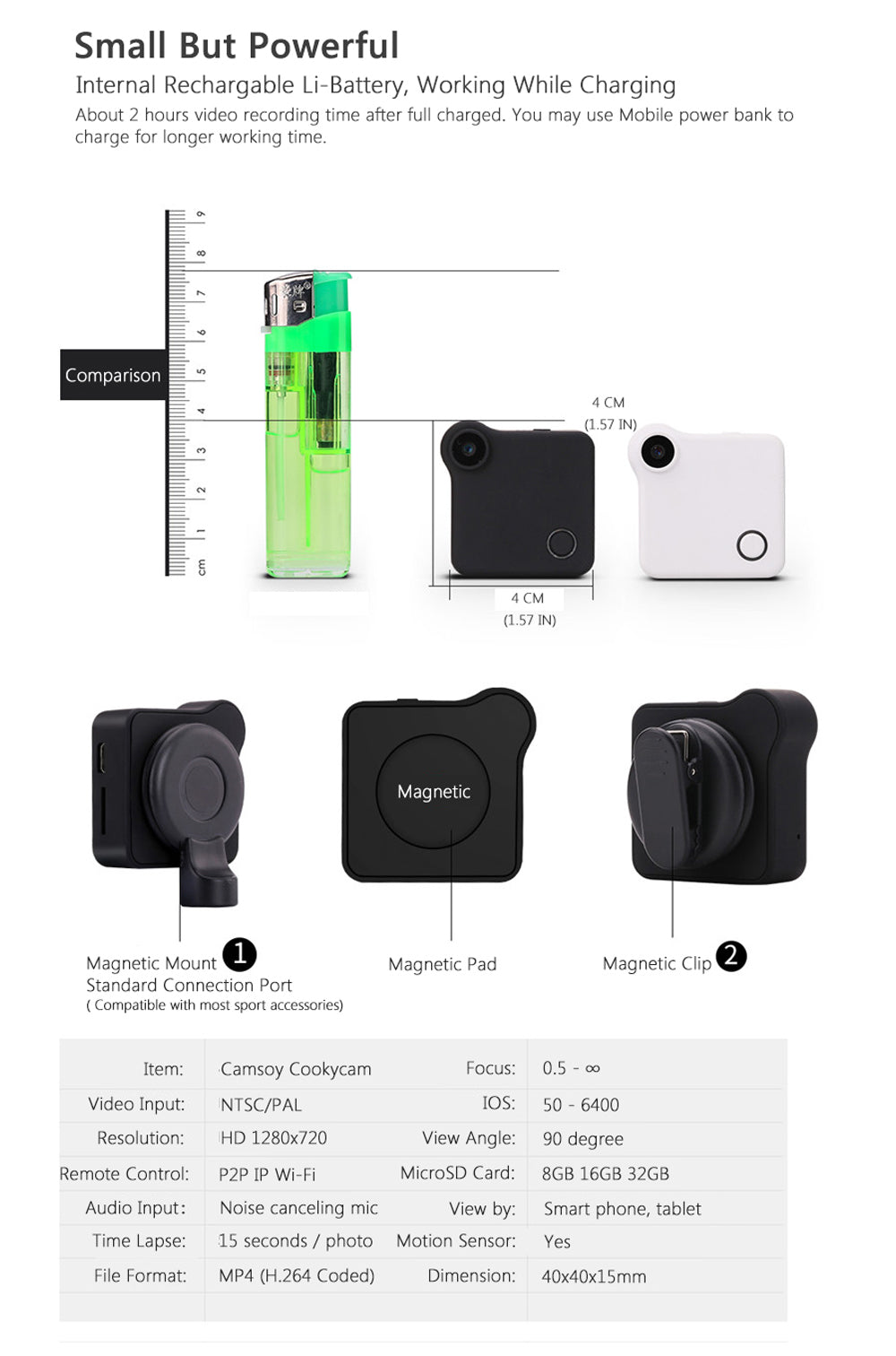 720P Wifi Wearable IP Mini Camera