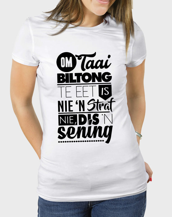 Idees Vol Vrees Taai Biltong Women's T-shirt - komedie