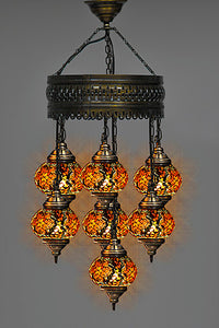 Turkish mosaic chandelier 7 lamps anatolianmotifs turkish mosaic chandelier 7 lamps aloadofball Images