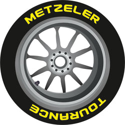 8x Metzeler 1mm anti-rip rubber Bike Tyres Lettering (Full Kit)