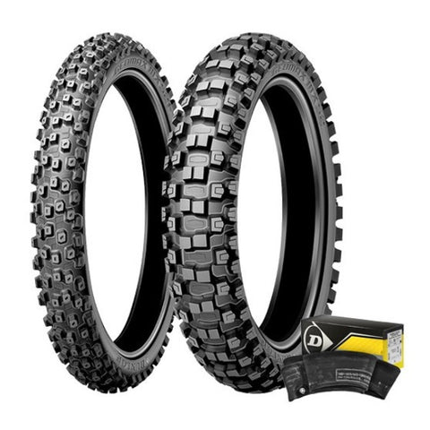 DUNLOP - MX 52 FRONT & REAR TYRE AND TUBE KIT - 100/100-18
