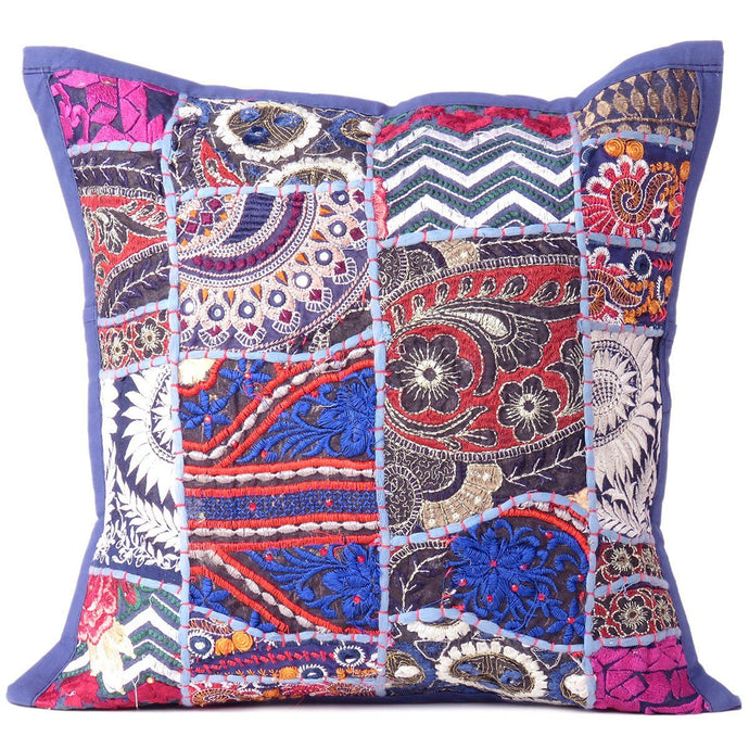 patio blue pillows decorative patchwork handloom cushion vintage stylish gypsy products pillow ethnic cushions in jaipur indian grande bohemian throw couch for