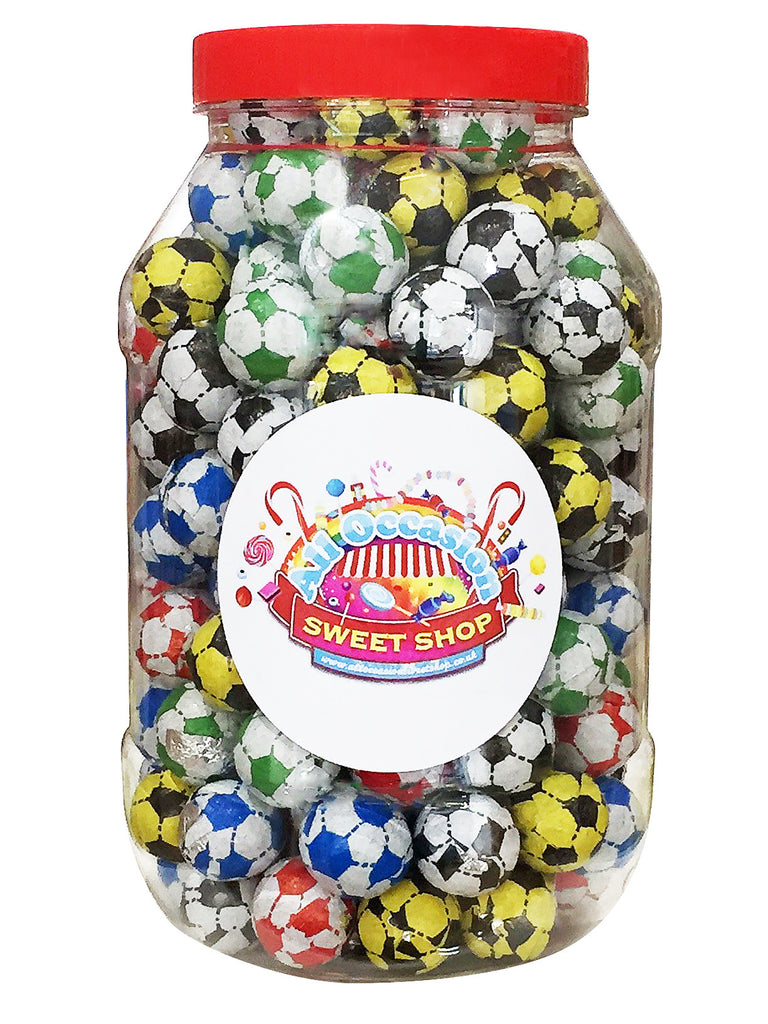 Chocolate Footballs Retro Sweets Jar (1 Litre)