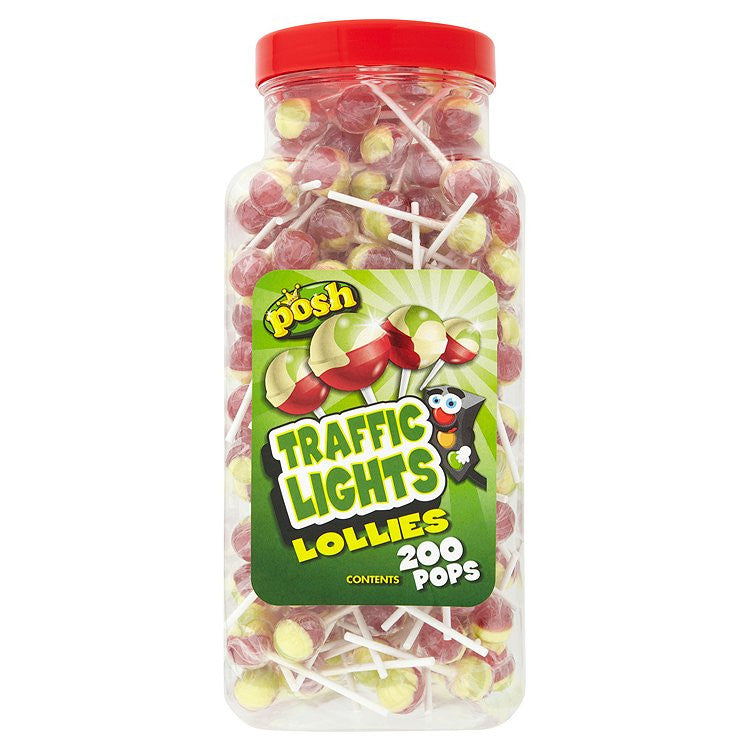 Traffic Light Lollies Full Tub 200 Lollipops
