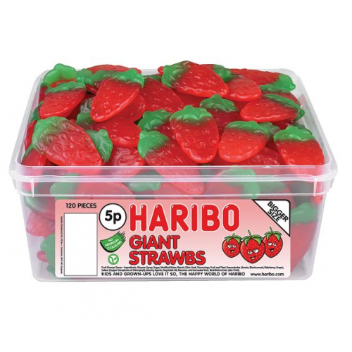 Haribo Giant Strawberries Sweets Tub