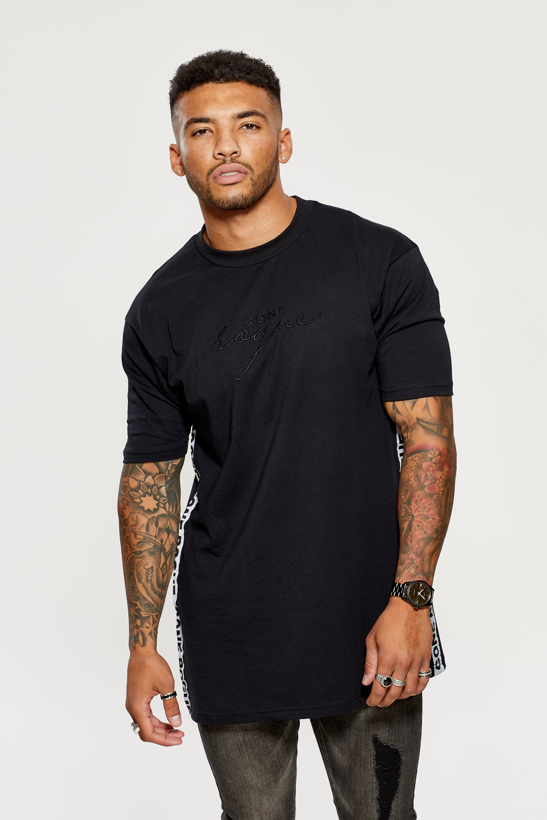 Oversized Tape Tee - Black