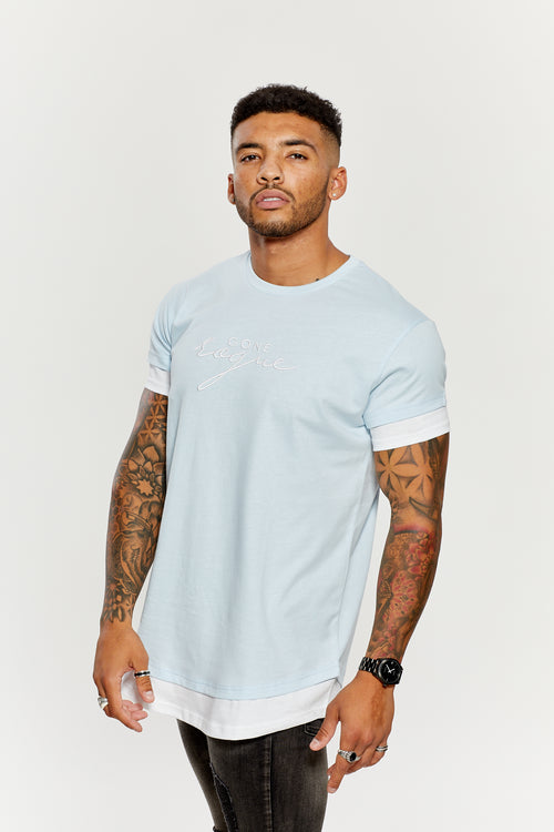 Contrast Tee - Baby Blue / White