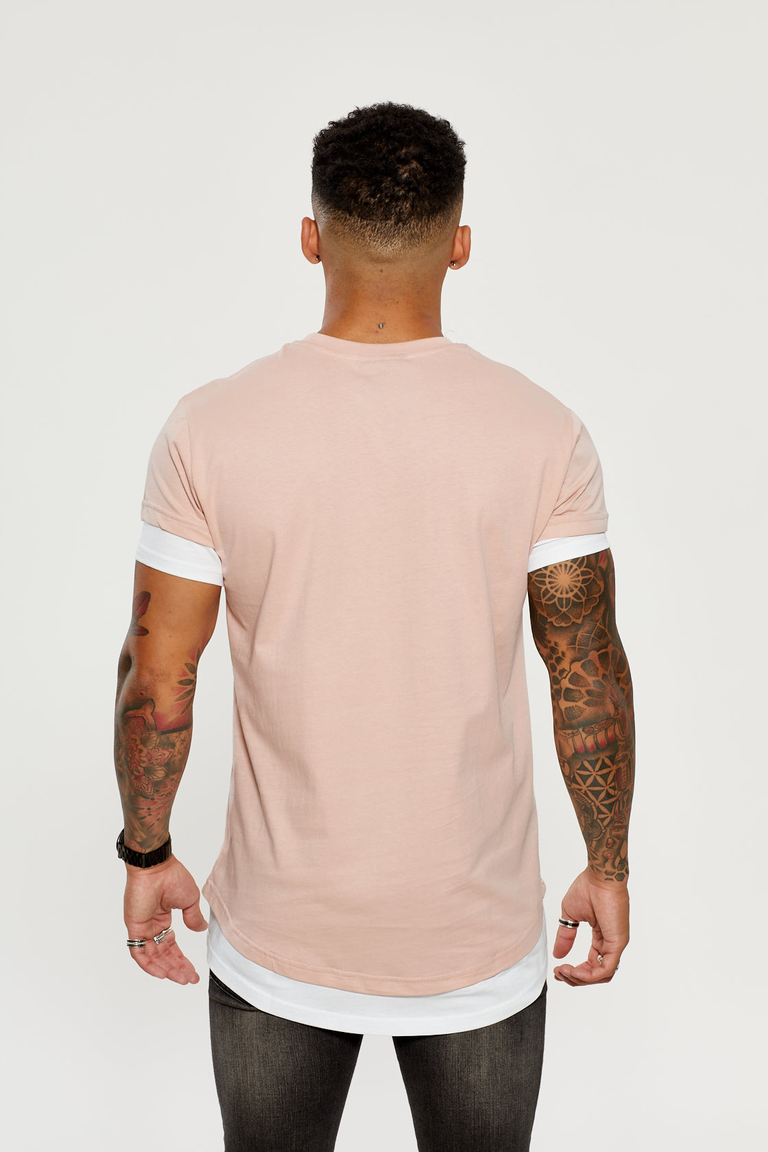 Contrast Tee - Dusty Pink / White