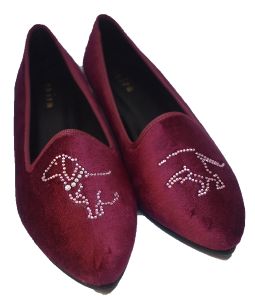 Red Velvet Slippers  Dachshund
