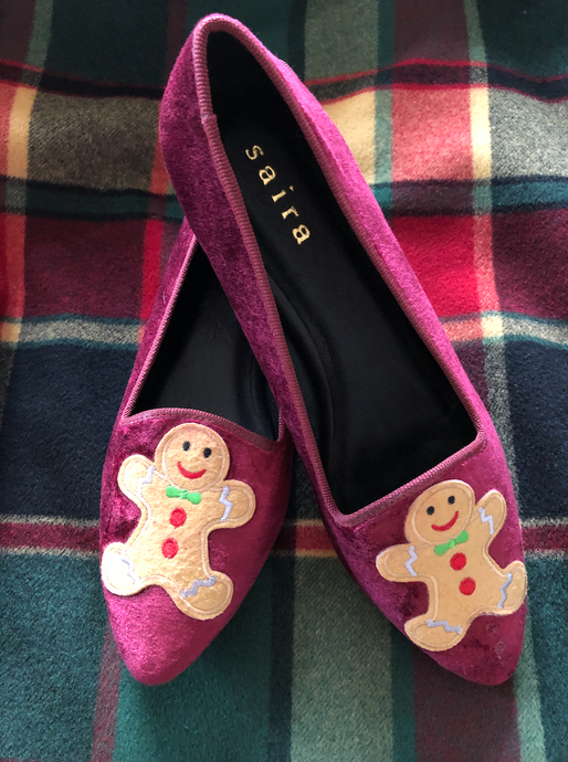 Velvet Slippers Gingerbread Men