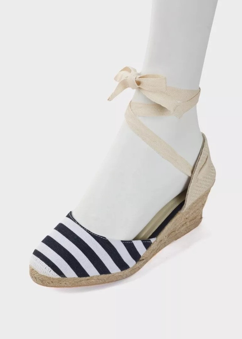 Womens Stripy Wedge Blue Espadrilles