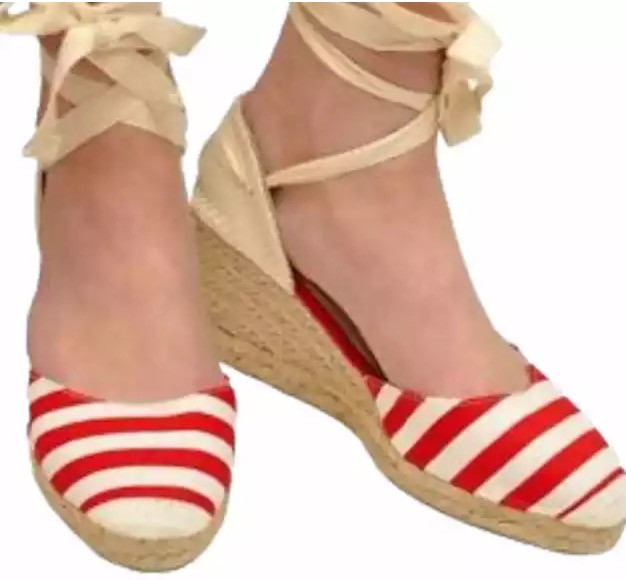 Womens Stripy Wedge Red Espadrilles