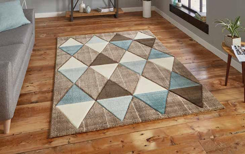Brooklyn 21896 Beige/Blue - Rug - Dream Floors and Furniture Ashton-Under-Lyne, Manchester