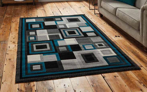 Hudson 3222 Black/Blue - Rug - Dream Floors and Furniture Ashton-Under-Lyne, Manchester