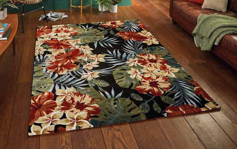 Tropics 6096 Black/Multi - Rug - Dream Floors and Furniture Ashton-Under-Lyne, Manchester