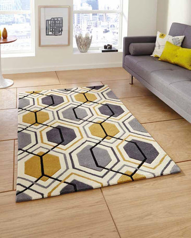 Hong Kong 7526 Grey/Yellow - Rug - Dream Floors and Furniture Ashton-Under-Lyne, Manchester