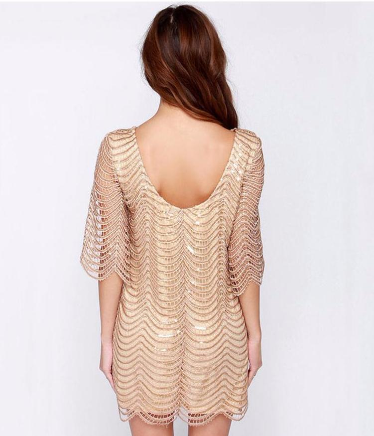 WAVE SEQUIN LACE DRESS Dress - Zia Clothing Company