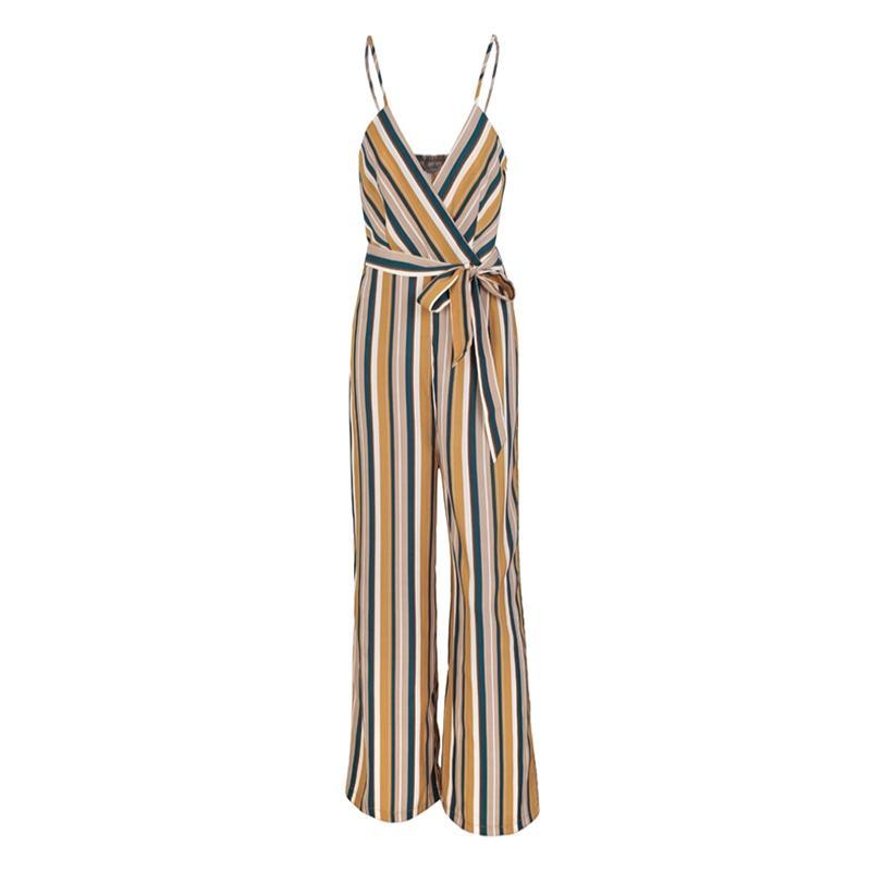 MULTI STRIPE JUMPSUIT Jumpsuit - Zia Clothing Company
