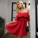 RED RUFFLE DRESS  - Zia Clothing Company