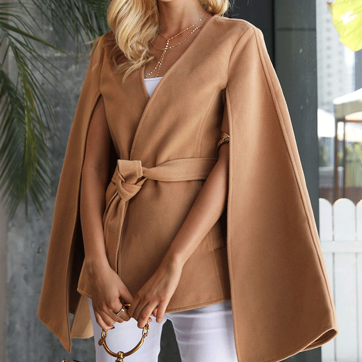 camel cape coat with tie waist