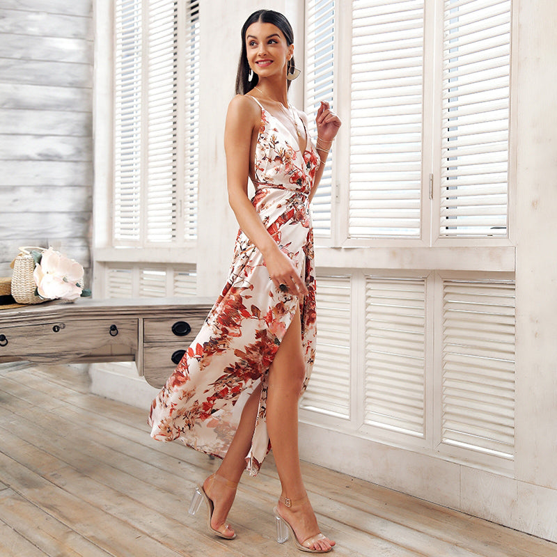 BACKLESS FLORAL PRINT SUMMER DRESS DRESS - Zia Clothing Company