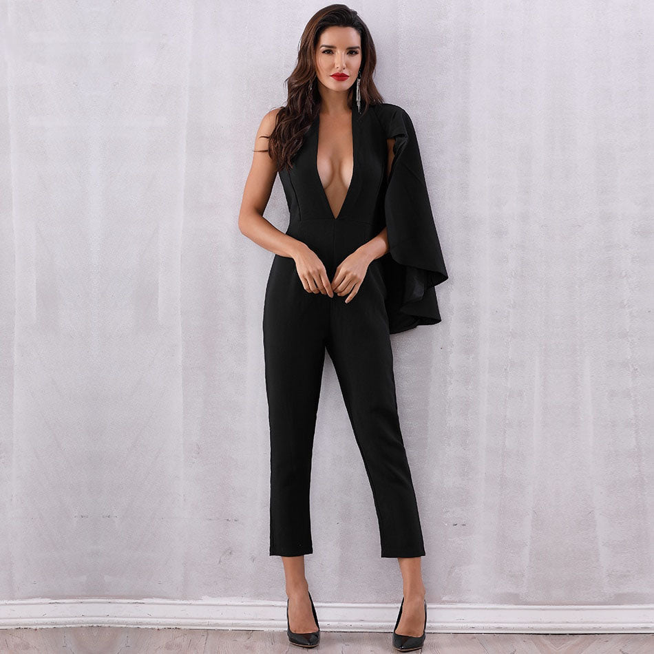 STUNNING BATWING SLEEVE JUMPSUIT Jumpsuit - Zia Clothing Company