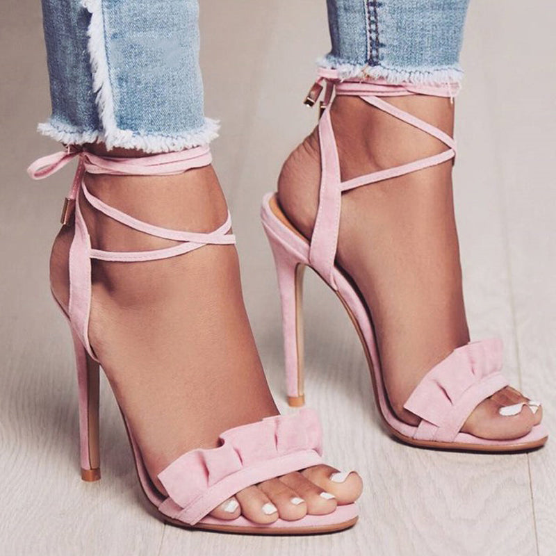 RUFFLE CROSS STRAPPED HIGH HEEL SANDALS Shoes - Zia Clothing Company