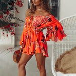 FLARE SLEEVE FLORAL PLAYSUIT