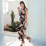 FLORAL RUFFLE DECOR JUMPSUIT Jumpsuit - Zia Clothing Company