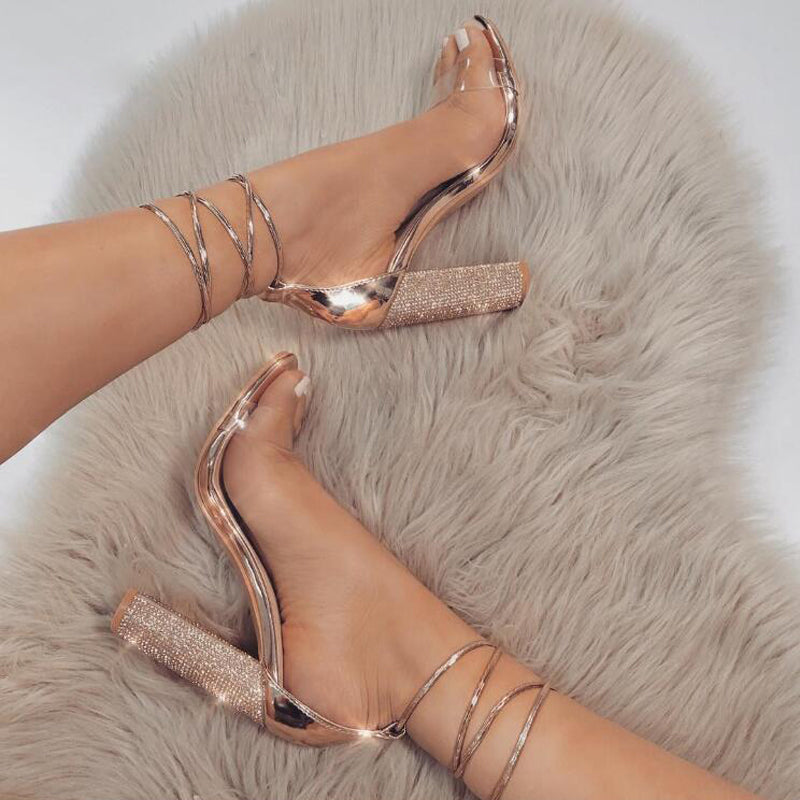 SHINY SQUARE HEELED SANDALS Shoes - Zia Clothing Company