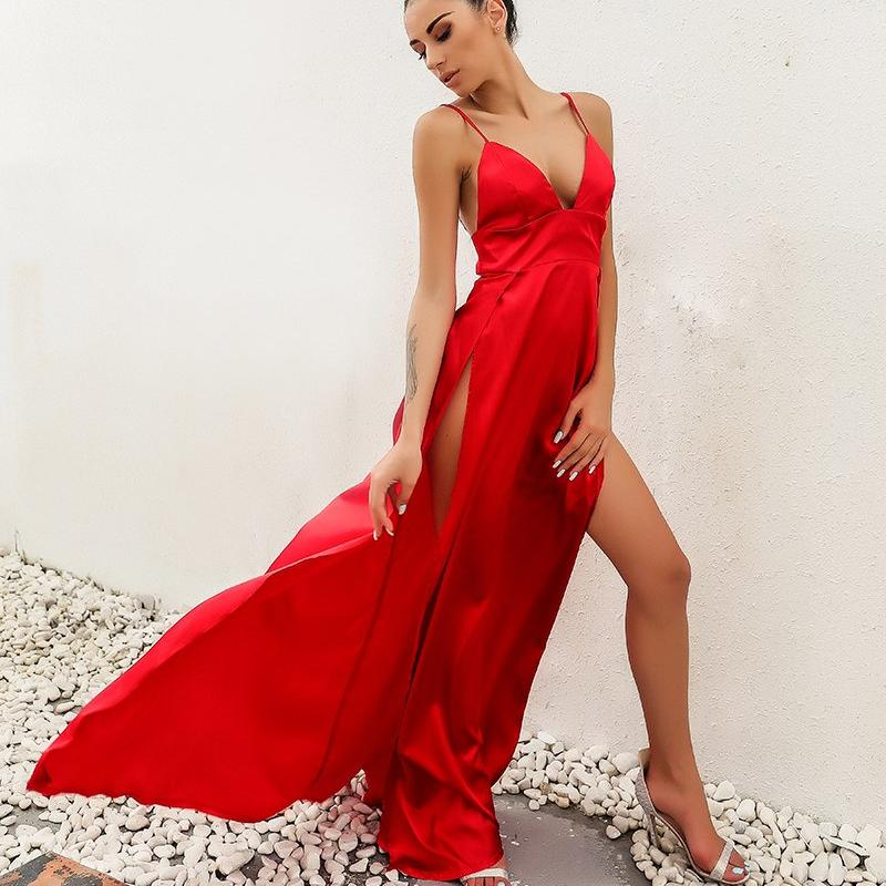 HIGH SPLIT RED MAXI DRESS VICTORIA Dress - Zia Clothing Company