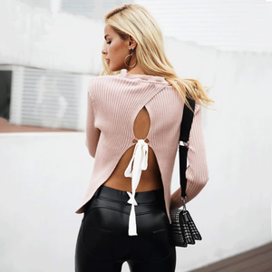[Pink jumper] [backless jumper] [top] [sweater] [pink pullover] [pink top] [knitwear] [jumpsuit]