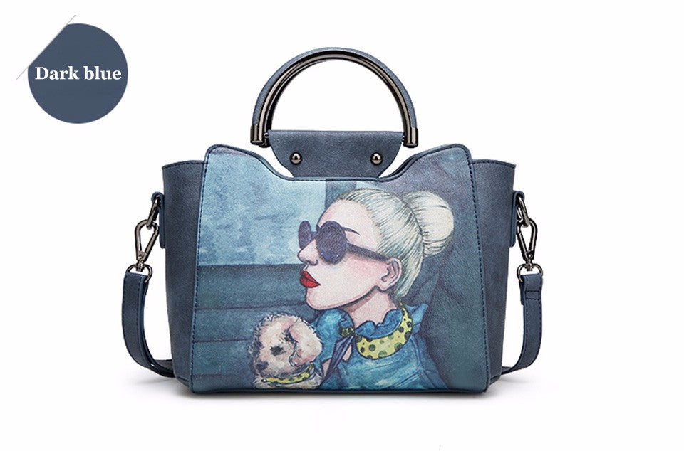 DESIGNER CARTON PRINT LEATHER BAG  - Zia Clothing Company