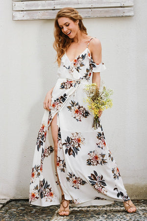 floral cold shoulder maxi dress with ruffle detail