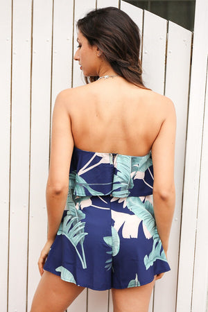 tropical print bandeau playsuit with ruffle detail
