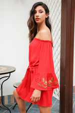 red off the shoulder embroidery dress