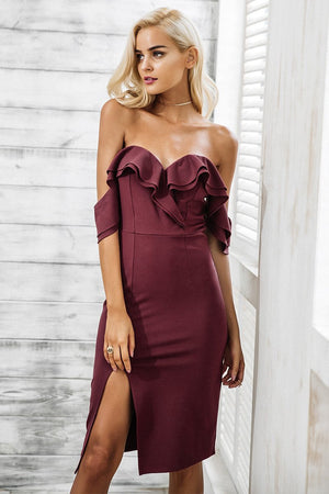 off the shoulder bodycon dress with side split