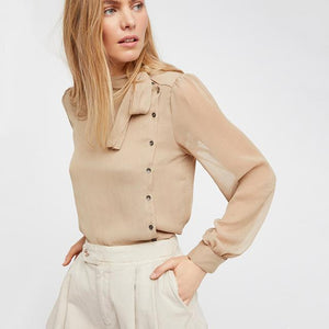 nude semi sheer pussy bow blouse