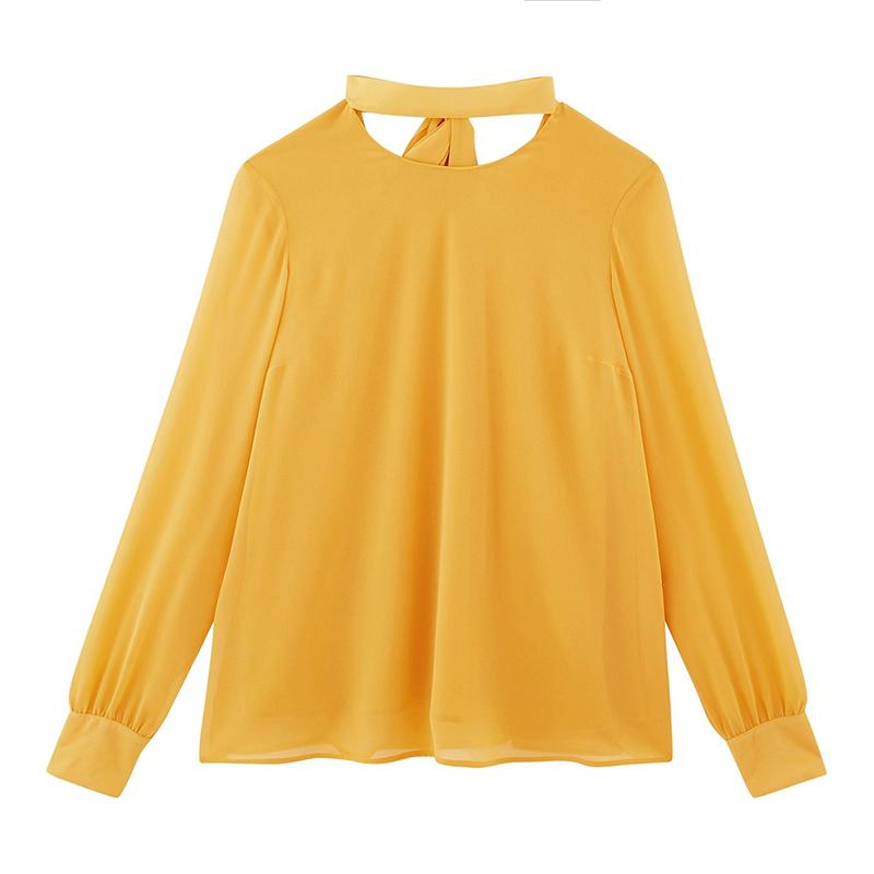 Yellow hollow out long sleeve blouse