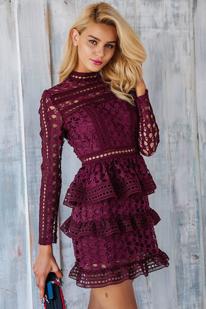 [burgundy dress] [ruffle dress] [lace dress] [mini dress] [] [hollow] [burgundy ruffle]
