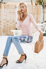 pink lace up pullover v neck pink sweater spring pullover casual sweater cozy pullover purple top
