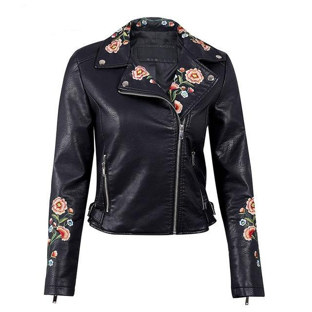 EMBROIDERED ROSE LEATHER JACKET  - Zia Clothing Company