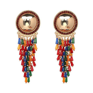 ETHNIC CRYSTAL EARRINGS DEBRA  - Zia Clothing Company