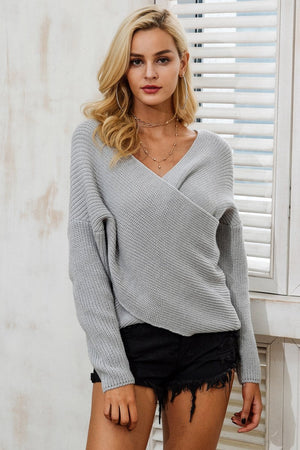 CROSS V NECK KNITTED SWEATER ISLA Knitwear - Zia Clothing Company