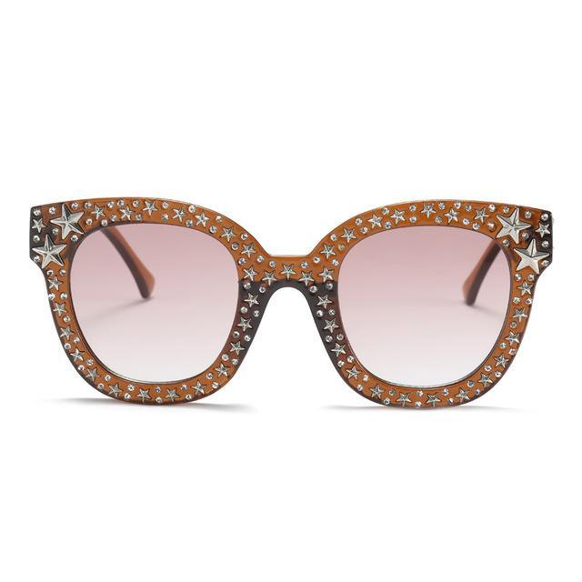 VINTAGE SQUARE OVERSIZED SUNGLASSES WITH DIAMONDS