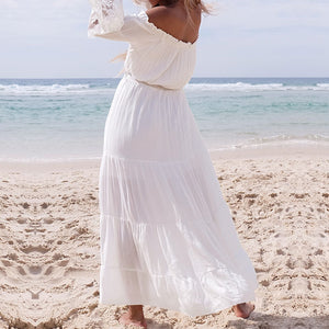 BOHEMIAN WHITE BEACH DRESS Beach Dress - Zia Clothing Company