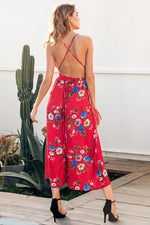 WIDE LEG LACE UP JUMPSUIT RED PRINT