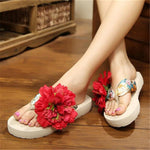 BOHEMIAN FLOWERS BEACH SLIPPERS Shoes - Zia Clothing Company