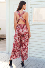 BACKLESS LACE UP FLORAL PRINT JUMPSUIT Jumpsuit - Zia Clothing Company