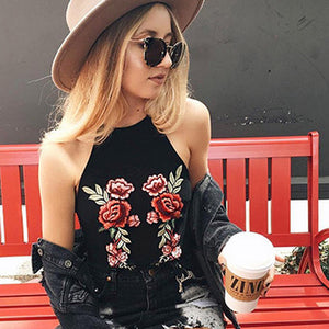 EMBROIDERY CROP TOP BLOUSE